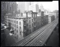 171 - 205 Pearl Street, New York City, circa 1929. High angle view with elevated tracks visible.