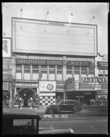 125th Street between Seventh Avenue and Lenox Avenue, New York City, April 30, 1932: 1 empty billboard.  Also storefronts of Tip Top Shoe Shop, Christensen School of Music, Orient Photo Plays.