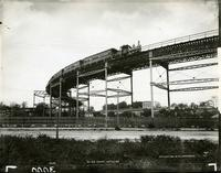 Elevated railroad curve at 110th Street, New York City, 1894.