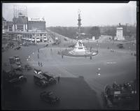 Columbus Circle, looking northeast from the southwest corner of Eighth Avenue, showing the entrance to Central Park and up Central Park West, New York City, 1921.