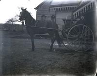 Christopher Greer's horse and cart, himself, and his cousin, Rye, N.Y., March 14, 1891.