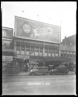 125th Street between Seventh Avenue and Lenox Avenue, New York City, December 27, 1928: Wrigley's Spearmint Gum. Also storefronts of Ideal Shoe Shop, Toby's Men's Shop, Christensen School of Music, Orient Photo Plays, Leight Brothers Outfitting Company (p