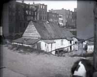 Shanty at the corner of Madison Avenue and East 77th Street, New York City, May 11, 1891. Home of Blind Tim Foley [Tom Foley?], his wife, and son.