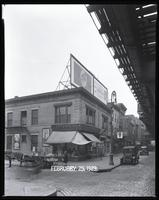 "Third Avenue and East 166th Street, Bronx, New York City, February 25, 1929:  George Steck Piano, 'The Kingdom of God"""" at the Ethel Barrymore Theatre (stage play), Seeley's Beverages, Tolley's Cakes, Dr. Posner's Scientific Shoes (partial). Also storefro"