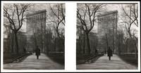New York City: Flatiron Building, 23rd Street looking south through Madison Square Park, undated. Stereograph.