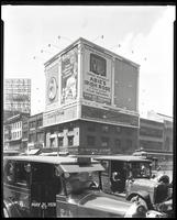 Seventh Avenue and 34th Street, New York City, May 31, 1928: Brotherhood of Locomotive Engineers Cooperative Trust Company, Libby's Peaches, Charity Circus, Nassau County Lots (McGolnick Realty), O-Cedar Furniture Polish, 'Abie's Irish Rose' (motion pictu