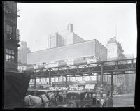 Sixth Avenue and West 47th Street, New York City, February 27, 1929: Wrigley's Spearmint Gum (whitewashed over). Painted signs for Cecil Restaurant, Hotel Century, Raleigh Hall Residence for Men. Also 1 empty billboard.