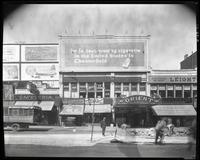 125th Street between Seventh Avenue and Lenox Avenue, New York City, August 25, 1925: Chesterfield Cigarettes, Horton's Ice Cream, Thorola Islodyne. Also storefronts of Ideal Shoe Shop, Toby's Men's Shop, Christensen School of Rag and Jazz, Orient Movies,
