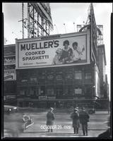 Broadway at West 47th Street, New York City, October 29, 1928: Mueller's Cooked Spaghetti.