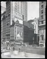 Fifth Avenue and 42nd Street, New York City, August 28, 1925: Sunbeam Tomato Catsup, Brentano's Book Store, Venus Pencils, Camel Cigarettes. Also 4 empty billboards.