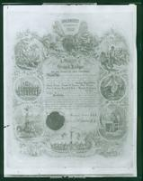 Charter of the Elks Lodge, New York #1, dated 1871. Undated photograph of a document. (Roege 9300)