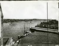 View of the East River looking north from the Brooklyn Bridge tower, 1894.