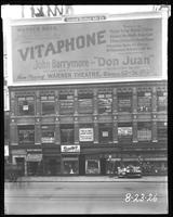 Broadway, 47th Street, and Seventh Avenue, New York City, August 23, 1926: Vitaphone Pictures' 'Don Juan' starring John Barrymore at the Warner Theatre.