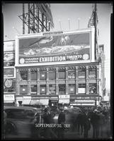 Broadway at West 47th Street, New York City, September 30, 1931: Canadian National Exhibition, Bowery Savings Bank (partial).