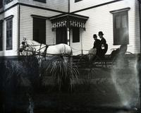 Smith and George in a surrey at 6:30 a.m., Hempstead, N.Y., September 8, 1891.