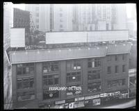 Sixth Avenue between 42nd Street and 43rd Street, New York City, February 28, 1929: Love Nest Candy, Thyma Tussin boards on El platform. Also 5 empty billboards.