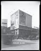 "Seventh Avenue and 34th Street, New York City, February 28, 1929: Brotherhood of Locomotive Engineers Cooperative Trust Company, Libby's Peaches, O-Cedar Furniture Polish, 'The Singing Fool"""" (motion picture), The Pennsylvania Building, Taystee Bread. Als"