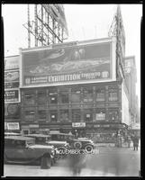 Broadway at West 47th Street, New York City, November 30, 1931: Canadian National Exhibition, Bond Bread (partial), Bowery Savings Bank (partial), Union Dime Savings Bank (partial).