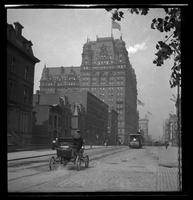 New York City: 34th Street looking west toward the Waldorf Astoria on Fifth Avenue, undated. Early automobile in foreground.