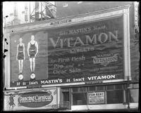 Broadway at West 47th Street, New York City, December 1921: Mastin's Vitamon Tablets, Dancing Carnival at St. Nicholas Rink.