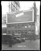 Broadway near 47th Street, New York City, January 30, 1928:  Blackstone Cigars, Beech-Nut Coffee (partial), Chrysler Cars (partial).