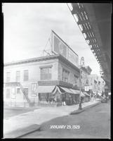 "Third Avenue and East 166th Street, Bronx, New York City, January 29, 1929:  George Steck Piano, 'The Kingdom of God"""" at the Ethel Barrymore Theatre (stage play), Seeley's Beverages, Tolley's Cakes, Dr. Posner's Scientific Shoes (partial). Also storefron"