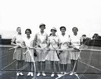 Women's tennis: Freda James, Phyllis M. King, Evelyn Dearman, Katherine Stammers, Nancy M. Lyle, and Dorothy Round, probably August 7, 1935.
