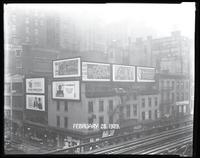 Sixth Avenue and West 27th Street, New York City, February 28, 1929:  Bowery Savings Bank, Camel Cigarettes, 'The Last Warning' (motion picture), RCA Radiola, 'Boom Boom' (stage play), 'Zeppelin' (stage play), 'Redskin' (motion picture). Painted sign for