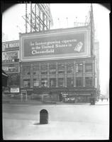 Broadway at West 47th Street, New York City, August 29, 1925: Chesterfield Cigarettes, Wrigley's Spearmint Gum, Clicquot Club Ginger Ale.
