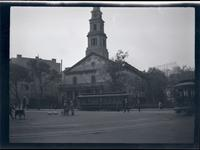 East Village: St. Mark's Church-in-the-Bowery, undated. Trollies in foreground