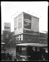 Seventh Avenue and 34th Street, New York City, February 29, 1928: Armour Star Ham & Bacon, Brotherhood of Locomotive Engineers Cooperative Trust Company, Near East Relief, O-Cedar Furniture Polish, Savarin Restaurant, Wrigley's Double Mint Gum. Also 1 emp