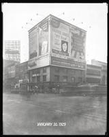 Seventh Avenue and 34th Street, New York City, January 30, 1929: Brotherhood of Locomotive Engineers Cooperative Trust Company, Libby's Peaches, Motor Boat Show, O-Cedar Furniture Polish, The Pennsylvania Building. Also 1 empty billboard with scaffold.