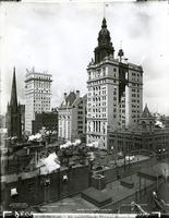 Lower Manhattan skyscrapers: Trinity Church, the Surety Building, the United States Bank Building, the Union Trust Company Building, the Manhattan Life Building, and the Consolidated Exchange Building, New York City, 1895.