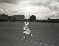 Nancy M. Lyle playing tennis, August 7, 1935. British Wightman Cup team.