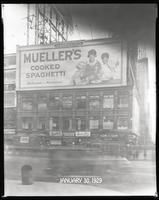 Broadway at West 47th Street, New York City, December 29, 1928: Mueller's Cooked Spaghetti.