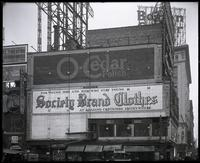 Broadway at 47th Street and Seventh Avenue, New York City, circa 1921: O-Cedar Furniture Polish, Society Brand Clothes.