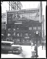 Broadway at West 47th Street, New York City, June 29, 1932: Canadian National Exhibition, Salvation Army United Appeal (partial), Taystee Bread (partial), Union Dime Savings Bank (partial).