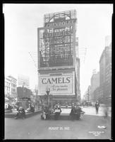 Broadway, 47th Street, and Seventh Avenue, New York City, August 25, 1927: Squibb's Dental Cream, Camel Cigarettes, Chevrolet Cars.