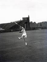 Katherine Stammers playing tennis, August 7, 1935.