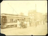Brooklyn: boarding the Coney Island streetcar at Williamsburg Bridge Plaza, undated.