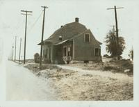 Flatlands: Captain Garret Kouwenhoven House (right), 21 Utica Avenue, southwest corner of Kings Highway, 1922. Demolished by 1925. Second site; moved from east of Utica Avenue in 1904.