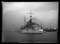 Boston: battleship 'New York' in Boston Harbor, undated.
