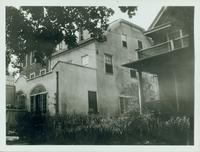 Jamaica: Nathan Shelton House, moved from the northeast corner of Jamaica Avenue and Flushing Road to the west side of Harriman [?] Avenue between Grove Street (90th Avenue) and Shelton Avenue (89th Avenue); Robinson House to the left; Aymar House on righ