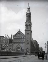 St. Bartholomew's Church, southwest corner of Madison Avenue and East 44th Street, New York City, May 5, 1891. Viewed from East 44th Street.