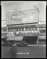 125th Street between Seventh Avenue and Lenox Avenue, New York City, October 31, 1928: Wrigley's Double Mint Gum. Also storefronts of Ideal Shoe Shop, Toby's Men's Shop, Christensen School of Music, Orient Photo Plays, Leight Brothers Outfitting Company,