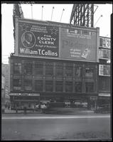 Seventh Avenue and West 47th Street, New York City, October 24, 1925: William T. Collins for County Clerk, Piedmont Cigarettes, 3 unidentified partial billboards.