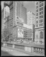Fifth Avenue and 42nd Street, New York City, July 24, 1928: 'The Lion and the Mouse' (motion picture), Armour Star Ham, Careful Carpet Cleaning Company, Colgate's Ribbon Dental Cream, Union Dime Savings Bank. Also 3 empty billboards.