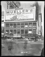 Broadway at West 47th Street, New York City, June 29, 1928: Mueller's Cooked Spaghetti, Cliquot Club Ginger Ale (partial).