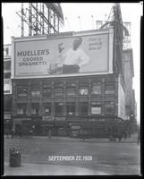 Broadway at West 47th Street, New York City, September 27, 1928: Mueller's Cooked Spaghetti.