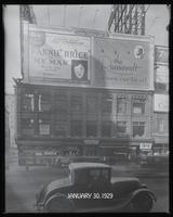 Seventh Avenue at West 47th Street, New York City, January 30, 1929: 'My Man' (motion picture), The Roosevelt (car) .